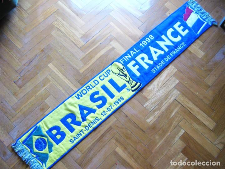 BUFANDA SCARF FINAL BRASIL BRAZIL VS FRANCE FRANCIA FIFA WORLD CUP 1998 ECHARPE (Coleccionismo Deportivo - Material Deportivo - Fútbol)