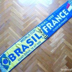 Coleccionismo deportivo: BUFANDA SCARF FINAL BRASIL BRAZIL VS FRANCE FRANCIA FIFA WORLD CUP 1998 ECHARPE. Lote 218203032
