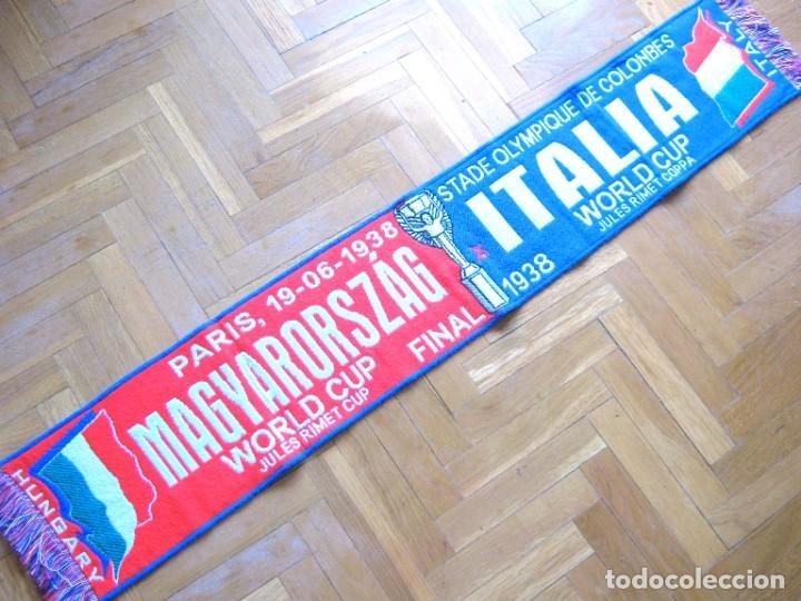BUFANDA SCARF ITALIA ITALY – HUNGARY MAGYARORSZAG FINAL WORLD CUP 1938 SCIARPA (Coleccionismo Deportivo - Material Deportivo - Fútbol)