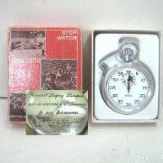 Coleccionismo deportivo: CRONOMETRO MENTOR CUERDA - DEDICADO ARBITRO 1º DIVISION 1974-MANUEL LOPEZ SAMPER-SWISS MADE AÑOS 70. Lote 219549098