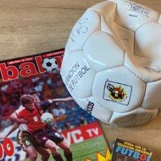 Coleccionismo deportivo: LOTE ESPAÑA EUROCOPA 1996 FÚTBOL COLECCIÓN BALÓN ADIDAS REVISTA DON BALÓN Y NAIPES FOURNIER. Lote 215710777