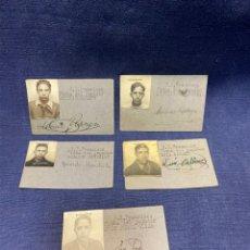 Coleccionismo deportivo: 5 FICHAS JUGADORES FUTBOL RACING SAN FRANCISCO MADRID TEMPORADA 1943 1944 6X8,5CMS. Lote 222407142