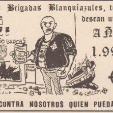 Coleccionismo deportivo: POSTAL CARTULINA BRIGADAS BLANQUIAZULES ESPAÑOL ESPANYOL ULTRAS HOOLIGANS. Lote 222805766