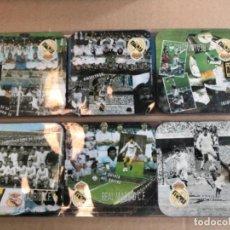Coleccionismo deportivo: 6 POSAVASOS HISTÓRICO REAL MADRID (DI STEFANO,PUSKAS,RAUL...) CAJAS ORIGI. Lote 237267020