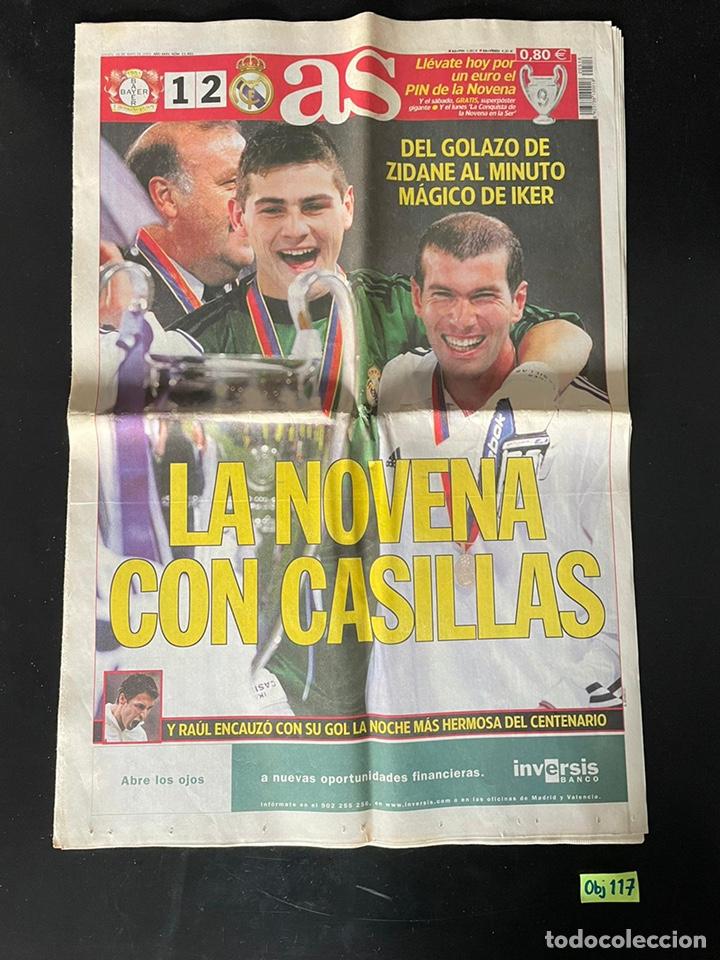 NOVENA COPA DE EUROPA. DIARIO AS. REAL MADRID. CHAMPIONS. CASILLAS. ZIDANE. (Coleccionismo Deportivo - Material Deportivo - Fútbol)