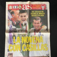 Coleccionismo deportivo: NOVENA COPA DE EUROPA. DIARIO AS. REAL MADRID. CHAMPIONS. CASILLAS. ZIDANE.. Lote 239421465