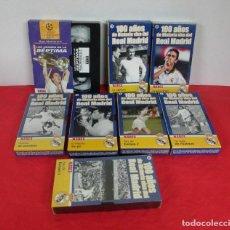 Coleccionismo deportivo: 100 AÑOS DE LA HISTORIA VIVA DEL FUTBOL DEL REAL MADRID - LOTE 8 VHS - VER TITULOS. Lote 254365900