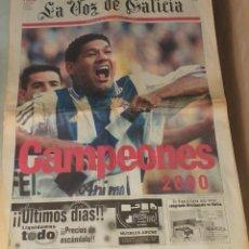 Coleccionismo deportivo: DIARIO PERIODICO LA VOZ DE GALICIA DEPORTIVO LA CORUÑA CAMPEON DE LIGA 20 DE MAYO 2000. Lote 277257463