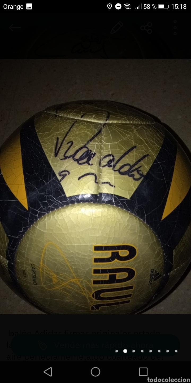 Coleccionismo deportivo: Balón adidas firmado galácticos Real madrid años 90, Zidane, Roberto Carlos, Ronaldo, Beckham, etc. - Foto 2 - 278479103