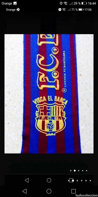 Coleccionismo deportivo: Antigua bufanda fútbol Barcelona serigrafiada años 80 - Foto 2 - 278485363
