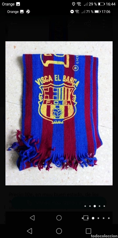 Coleccionismo deportivo: Antigua bufanda fútbol Barcelona serigrafiada años 80 - Foto 3 - 278485363