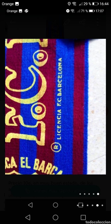 Coleccionismo deportivo: Antigua bufanda fútbol Barcelona serigrafiada años 80 - Foto 4 - 278485363