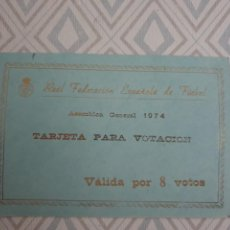 Coleccionismo deportivo: BONITA TARJETA REAL FEDERACION ESPAÑOLA DE FUTBOL ASAMBLEA GENERAL 1974.. Lote 278492338