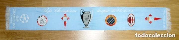 BUFANDA CONMEMORATIVA CHAMPIONS LEAGUE 2003/04 CELTA DE VIGO, MILÁN, AJAX Y BRUGGE (Coleccionismo Deportivo - Material Deportivo - Fútbol)