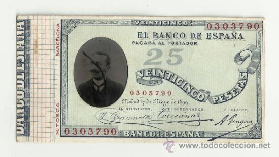 ESPECIE DE CARTÓN O CARTULINA ANTIGUA CON FORMA DE BILLETE DE 25 PESETAS DE 1899 (Numismática - Material Numismático)