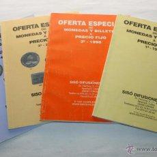 Material numismático: LOTE DE 4 CATALOGOS DE MONEDAS SISO DIFUSIONES AÑO 1998 1999 2007. Lote 43809665