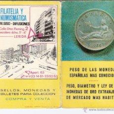 Material numismático: PESO DE MONEDAS ESPAÑOLAS MÁS CONOCIDAS.PESO,DIÁMETRO Y LEY MONEDAS DE ORO EXTRANJERAS. SISO.DIPTICO. Lote 45843323
