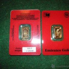 Material numismático: LINGOTE ORO EMIRATES GOLD 1 GRAMO ORO PURO 999,9. Lote 103879555