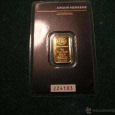 Material numismático: LINGOTE ORO ARGOR-HERAEUS SUIZA 5 GRAMOS ORO PURO 999,9. Lote 103879611