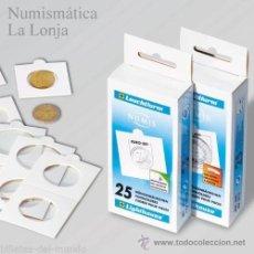 Material numismático: LEUCHTTURM - CARTONES PARA MONEDAS 27.50 MM AUTOADHESIVOS - 25 UNIDADES. Lote 221102512
