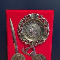 Material numismático: JUEGO DE CENICERO, ABRECARTAS Y ABREBOTELLAS DE ALFONSO XII 1885. Lote 54854368