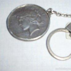 Material numismático: LLAVERO CON DOLAR 1924 ,OJO TODO EN PLATA. Lote 60175555