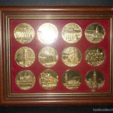 Material numismático: CUADRO 12 MONEDAS MONUMENTOS BAÑADAS EN ORO 24 KILATES, 22X 27,5 CENTIMETROS.. Lote 60705875