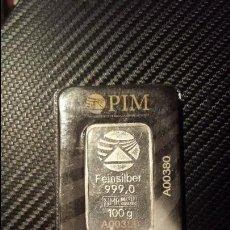 Material numismático: LINGOTE DE PLATA PURA 999 DE 100 GRAMOS. Lote 95093303
