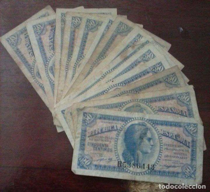 14 BILLETES 50 CÉNTIMOS AÑO 1937 (Numismática - Material Numismático)