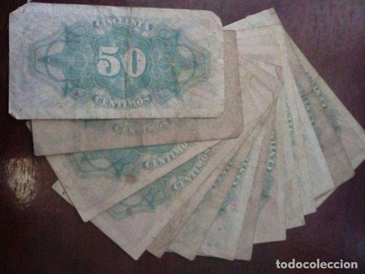 Material numismático: 14 BILLETES 50 CÉNTIMOS AÑO 1937 - Foto 2 - 95856207