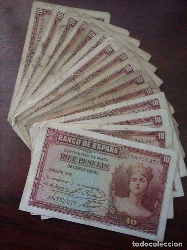 15 BILLETES 10 PESETAS. BANCO DE ESPAÑA 1935 (Numismática - Material Numismático)