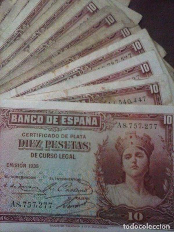 Material numismático: 15 BILLETES 10 PESETAS. BANCO DE ESPAÑA 1935 - Foto 2 - 95856363