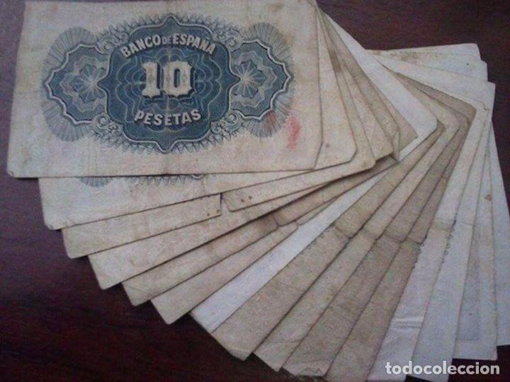 Material numismático: 15 BILLETES 10 PESETAS. BANCO DE ESPAÑA 1935 - Foto 3 - 95856363