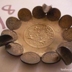 Material numismático: ANTIGUO CENICERO ARTESANAL FABRICADO CON MONEDAS MEXICANAS. Lote 95968091