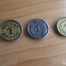 Material numismático: LOTE 3 FICHAS 1 PESETA MERCADOS BARCELONA.. Lote 103018759