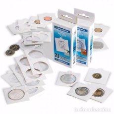 Material numismático: CARTONES PARA MONEDAS CON SOLAPA 27.5 MM - 100 UNIDADES. Lote 245566760