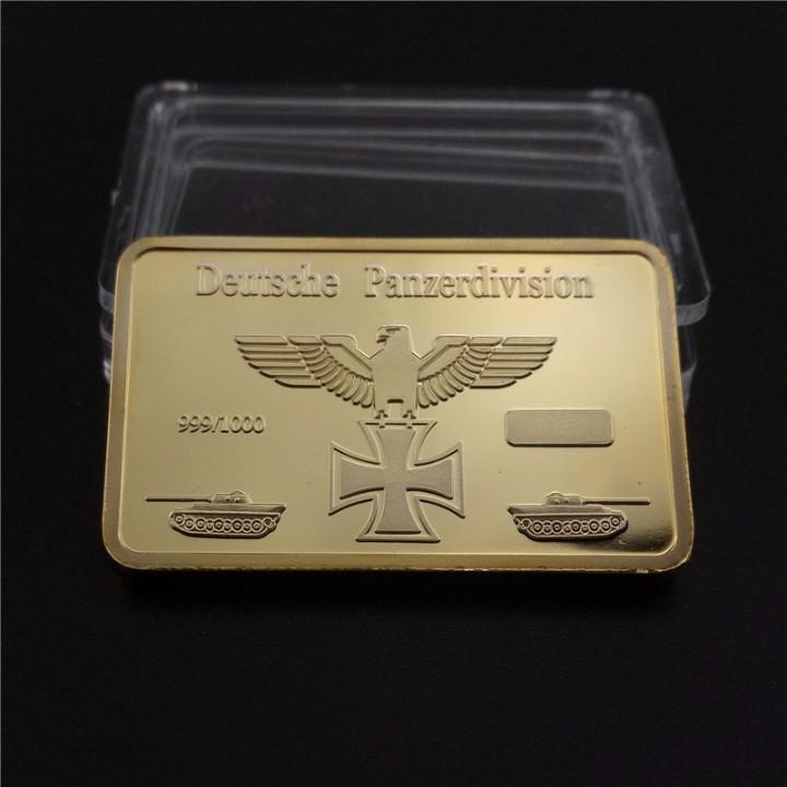 Material numismático: LINGOTE BAÑADO EN ORO 24K ALEMANIA LEOPARD I 1965 PANZER EDICION LIMITADA DIFICIL DE CONSEGUIR - Foto 2 - 214666942
