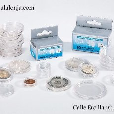 Material numismático: CAPSULA PARA MONEDAS DE HASTA 37 MM Ø LEUCHTTURM CAJA 10 UNIDADES. Lote 161225722