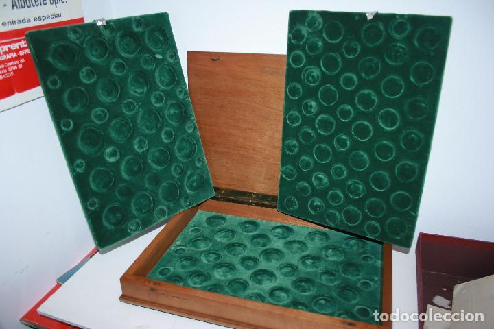 CAJA DE MONEDA PARA ARCHIVAR COLECCIONES DE MONEDAS. TERCIOPELO VERDE PARA 46 MONEDAS CADA BANDEJA (Numismática - Material Numismático)