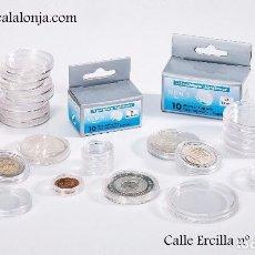 Material numismático: CAPSULAS PARA MONEDAS DE HASTA 41 MM Ø LEUCHTTURM CAJA 10 UNIDADES. Lote 241847780