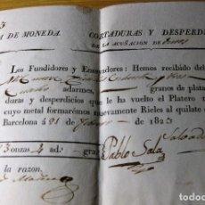 Material numismático: ANTIGUO CURIOSO RECIBO CASA DE LA MONEDA CORTADORES Y DESPERDICIOS ACUÑACION DE DUROS 1823 BARCELONA. Lote 105625287