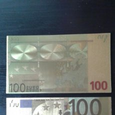 Material numismático: BILLETE ORO 100 EUROS 99,9% PURE GOLD 24K. Lote 109215303