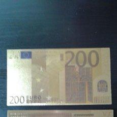 Material numismático: BILLETE ORO 200 EUROS 99,9% PURE GOLD 24K. Lote 109215339