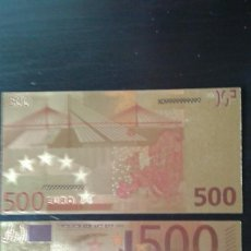 Material numismático: BILLETE ORO 500 EUROS 99,9% PURE GOLD 24K. Lote 109215367