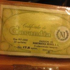 Material numismático: ANTIGUO ESTUCHE VACIO CON GARANTIA NI PARA MONEDA DE ORO 22 K IBERICA SA. Lote 51385485