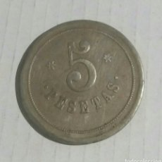 Material numismático: FICHA 5 PESETAS CASINO MONDARIZ. Lote 113348163