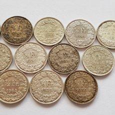 Material numismático: LOTE DE 12 MONEDAS ANTIGUAS DE PLATA HELVETIA 1/2 FR. Lote 118407240