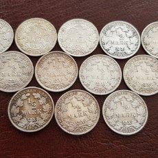 Material numismático: LOTE 12 MONEDAS ANTIGUAS DE PLATA ALEMANIA 1/2 MARK. Lote 118407343