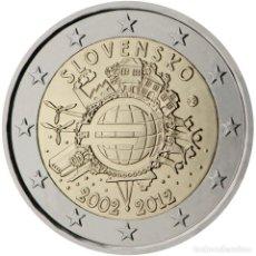 Material numismático: ESLOVAQUIA 2012 2 ? EUROS CONMEMORATIVOS X ANIVERSARIO DEL EURO. Lote 123598266