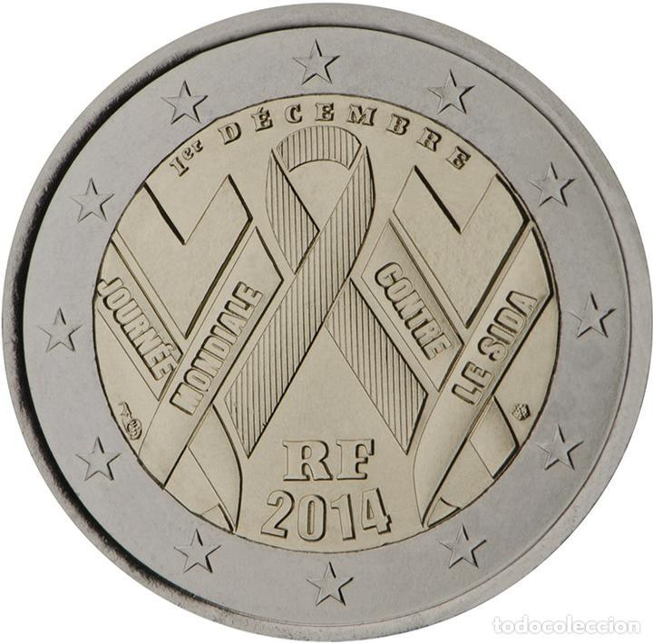 FRANCIA 2014 2 ? EUROS CONMEMORATIVOS DÍA MUNDIAL SIDA (Numismática - Material Numismático)
